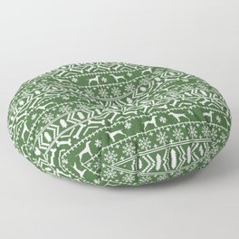 Vizsla fair isle green and white christmas holidays dog breed pet art dog pattern Floor Pillow