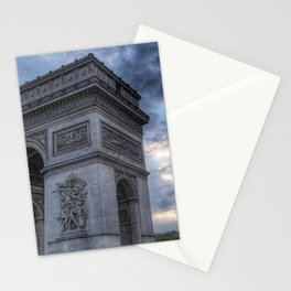 France Photography - Arc De Triomphe Under Dark Clouds Stationery Cards