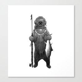 Harpoon Fishing Bear Canvas Print