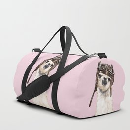 Cool Pilot Llama in Pink Duffle Bag