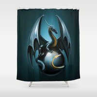 dragon Shower Curtains featuring dragon by Antracit
