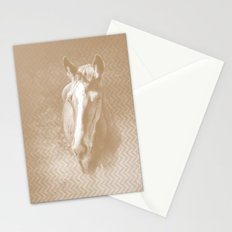 Horse emerging from the mist in iced coffee beige Stationery Cards