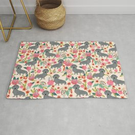 Dachshund florals grey doxie dachsie pattern with flowers cute gifts for wiener dog owners Rug