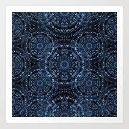 Blue Bohemian Pattern Art Print