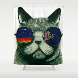 Spacey Cat Shower Curtain