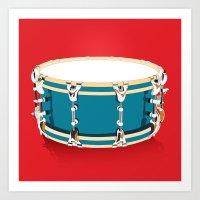 drum Art Prints featuring Drum - Red by Ornaart