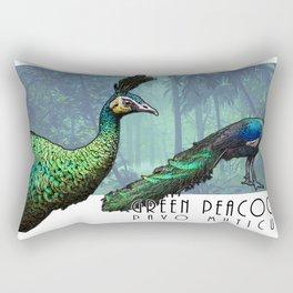 Green Peacock Rectangular Pillow