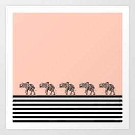 ELEPHANT & STRIPES CORAL Art Print