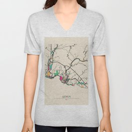 Colorful City Maps: Genoa, Italy Unisex V-Neck