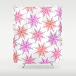 Modern Hand Painted Gold Watercolor Pink Lilac Floral Shower Curtain