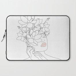 Minimal Line Art Woman with Magnolia Laptop Sleeve