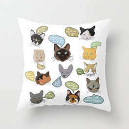 Message cats Throw Pillow