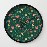 floral pattern Wall Clocks featuring Floral pattern by Julia Badeeva