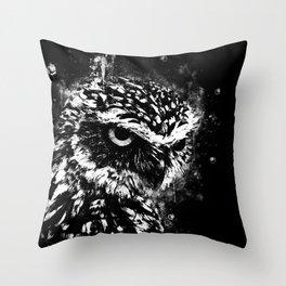 burrowing owl splatter watercolor black white Throw Pillow