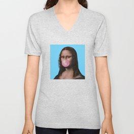 Mona Lisa (Leonardo da Vinci) with Bubblegum Unisex V-Neck