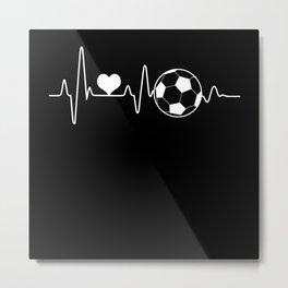 Heartbeat Heart Pulse Frequency Soccer Metal Print