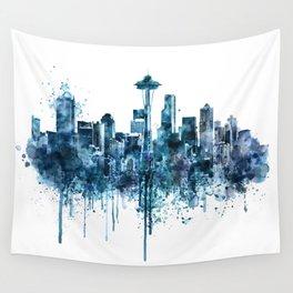Seattle Skyline monochrome watercolor Wall Tapestry