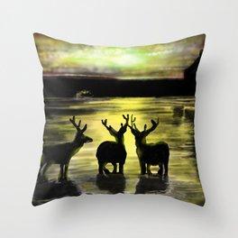 Sundown on Scottish Loch Throw Pillow