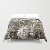 free shipping Duvet Covers featuring Little white Flowers - FREE SHIPPING THRU SUNDAY by LoRo  Art & Pictures