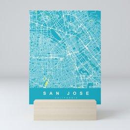SAN JOSE City Map - California US   Aqua   More Colors, Review My Collections Mini Art Print