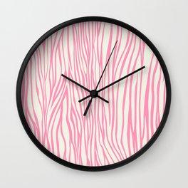 Cute Pink Zebra Skin Pattern Wall Clock