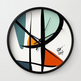 Abstract Minimal Lyrical Expressionism Art Blue Orange Wall Clock