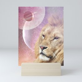 Lion King of the Universe - Surreal Collage Mini Art Print