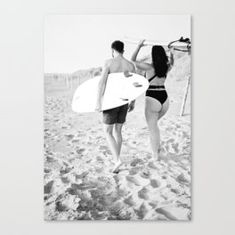 Coastal surf photography print   surfer couple in black and white   Wanderlust wall art Canvas Print