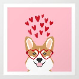Corgi heart glasses dog breed valentines day welsh corgis gifts Art Print