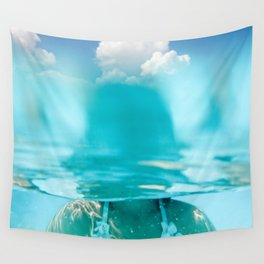 Little girl in water, with clouds Wall Tapestry