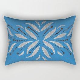 Silver Leafs – Blue Bell – Scandinavian Folk Art Rectangular Pillow