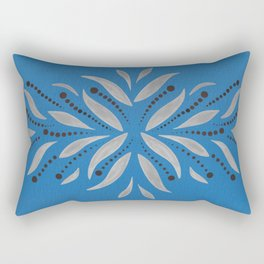 Silver Leafs – Blue Bell – Scandinavian Folk Art Rectangular Pillow