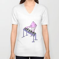 piano V-neck T-shirts featuring Piano by melanie johnsson