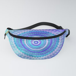 Blue Turquoise And Purple Watercolor Mandala Art Fanny Pack