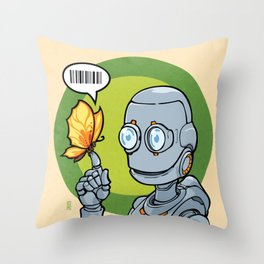Robot and... Butterfly (Orange) Throw Pillow