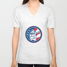 American Cavalry Soldier Blowing Bugle Circle Unisex V-Neck