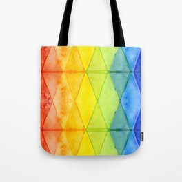Geometric Abstract Rainbow Watercolor Pattern Tote Bag