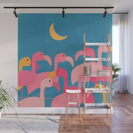 Midnight Flamingos Wall Mural