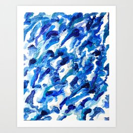 Turbulent Waves Original Abstract Oil Painting on Canvas, Blue, Silver 8x10in Art Print
