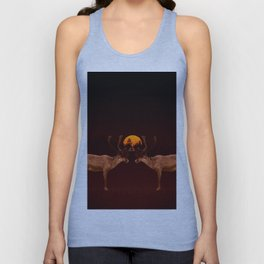 Reindeers With Moon On A Dark Purple Background #decor#buyart #society6 Unisex Tank Top