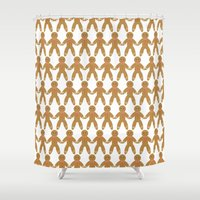 men Shower Curtains featuring Gingerbread Men by Natalie North