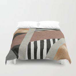 Abstract Geometric Composition in Copper, Brown, Black Duvet Cover