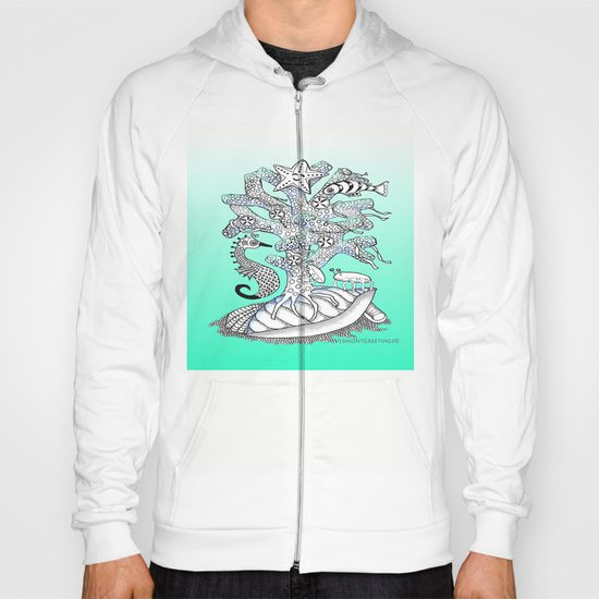 Zentangle Seahorse, Coral, Starfish Undersea Illustration Hoody