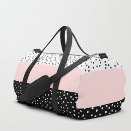 Pink white black watercolor polka dots Duffle Bag