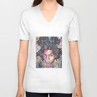 basquiat V-neck T-shirts featuring Basquiat by Makelismos
