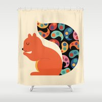 paisley Shower Curtains featuring Paisley Squirrel by Andy Westface