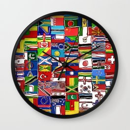 Sketchy World Flags Wall Clock