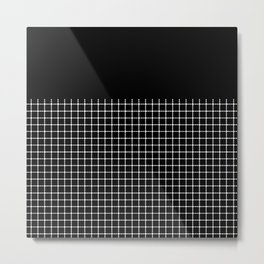 Dotted Grid Boarder Black Metal Print