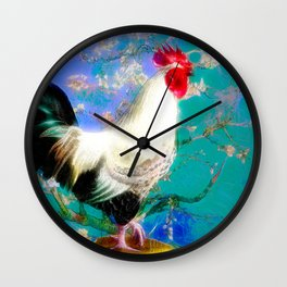 Provencal cock against the background of Van Gogh Wall Clock