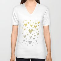 gold glitter V-neck T-shirts featuring Glitter Hearts by Psychae